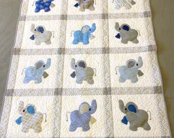 Elephant Treasures handmade quilt in blue and gray cuddle quilt toddler quilt