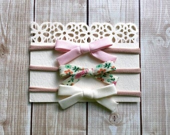 Set of 3  Bow Headbands -Newborn Baby to Adult - Nylon Headband - Holiday Bow