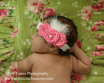Pink Rosette Headband with French Veil Bird Cage Veil Feathers and Fur, Mary Lopez Photography