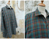 Vintage  1930/1940 French checked plaid cotton chore shirt/worker