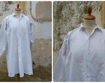 Vintage Antique 1900 /1920 French off white cotton Men Shirt with flat plastron size M