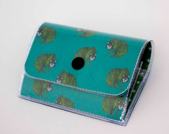 Handmade Vinyl Accordion Wallet - Henry Wolf / small wallet, snap, cute, card case, vinyl wallet, women's wallet, wolf, wolves, woodland