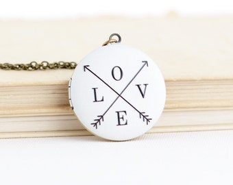 LOVE Locket Necklace - Romantic Gift - Gift For Girlfriend - Sweetheart Gift - Valentines Gift - Locket Pendant - Gift For Her