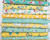 1930's Reproduction Fabric Bundle Teal and Yellow Fat Quarters