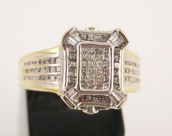 SALE Womans 14 Karat Gold and Diamond Ring