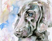 "Weimaraner Dog Painting, Large Dog portrait Pet art archival Giclée print from original""Blue Eyes by Kathy Morton Stanion EBSQ"