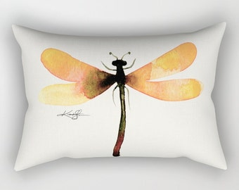 Yellow Dragonfly Pillow, Abstract Painting, Home Decor Rectangular, Decorative, Contemporary, Watercolor, Original Kathy Morton Stanion EBSQ