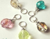 5 Stitch Markers  - Tropical 10mm Beads