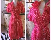 Vintage 1940s style Dress red polka dot M L 40s 1950s