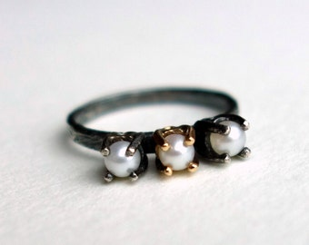 Pearl Teeth Ring- Sterling and 14k Gold Handmade Pearl RIng
