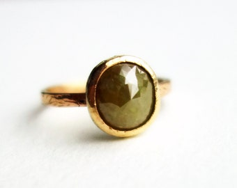 Mixed Metal 14k Gold and Sterling Green Natural Diamond Ring