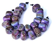 10 Silvered Dark Purple Rose Mini Nuggets color .999 fine silver wire glass beads by Beadfairy Lampwork, SRA