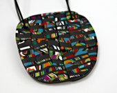 Handmade Mosaic Polymer Clay Pendant in Round Shape
