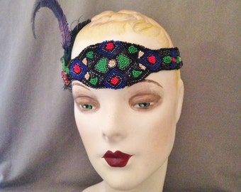 Vintage 1920s Gatsby Headband, Headpiece, Deco Black, Red, Green, Blue, Victorian Feathers, Dramatic