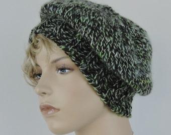 Beret Slouch Hat Green Black Mohair Shetland Wool