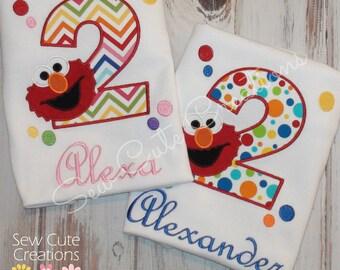 Elmo Birthday Shirt, Elmo Shirt, Red Monster Birthday Shirt, First Birthday, Second birthday, 1st birthday, 2nd birthday, sew cute creations