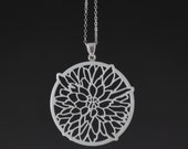 Dahlia flower long dainty necklace white round Upcycled Corian Pendant with Sterling Silver Bail and Chain delicate long silver necklace