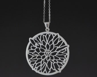 "Upcycled White Corian Dahlia Flower Round Charm Pendant with Sterling Silver Bail and 24"" Chain Necklace - Handmade Recycled Jewelry"