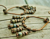 Boho wrapped hoop dangles - Czech Picasso glass beads and antiqued copper wire wrapped teardrop hoops with beaded dangles earthy earrings