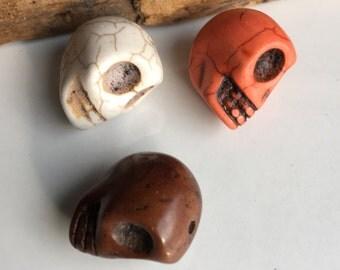 Howlite Skulls, Skull Beads, Pink Skull, Black Skull, Green Skull, Destashed Beads, Howlite Beads (3)