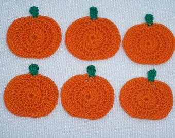 6 orange thread crochet applique pumpkin  --  2532