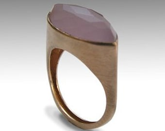 Pink Chalcedony ring, Solid Rose Gold Ring, Engagement Gemstone Ring, pink Stone Ring, Brushed Rose Gold Ring - First impressions RG1225-1