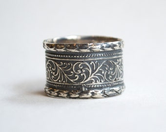 Silver wedding band, vine band, unisex ring, unique wedding band, men and women's ring, gypsy ring, wide band, bohemian ring - Believe R1741