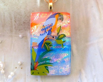 Fused Dichroic Glass Pendant, Glass Jewelry, LARGE, Exotic Bird, Necklace Included, One of a Kind, A2