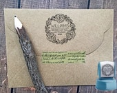 Custom Rubber Stamp,Floral Doodle Address Stamp,ROUND, Funky Floral,Address label,Couple stamp,Wedding Stamp,Personalized Stamp,#16-62