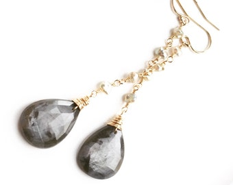 Rose Cut Silver Grey Sapphire Saltwater Keshi Pearl Linear Dangle Earrings