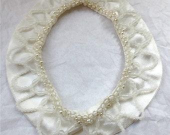 1950s  White Satin and Pearl Collar Necklace  - Detachable Collar  Vintage Accessory -  Jewelry - Made in Japan