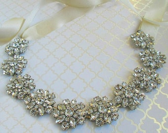 On sale, Bridal Headpiece wedding Headband Crystal hair Piece silver hair band rhinestone head band
