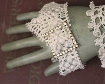 Vintage Lace Wedding Cuff, Lace Bracelet, Vintage Buckle