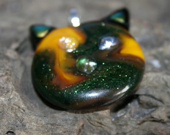 "FUNKY FELINE ""Harry"" Fused Glass Pendant -- Art Glass By YM"