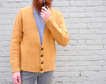 Vintage Camel Wool Cardigan // Men's Sweater // Handmade Vintage // Button Up // Long Sleeve / 1960s 1970s / tan brown beige / medium small