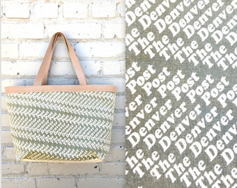 90's DENVER POST Canvas Tote // Typography // Graphic Design // Retro Colorado // Tan and Olive Green // Laptop University Bag // Purse