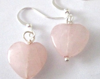 small rose quartz puffy heart pierced dangle hand made affordable unique earrings