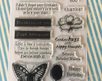 Random Sentiments Belated Birthday 6x4 Clear Stamp Set 15 pc
