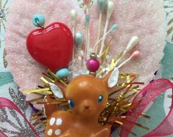 CUSTOM Orders...Baby Deer Christmas Corsage .. So sweet!!!.. Handmade+Ooak