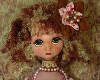 "Large 28"" inspired by Blythe & Big Eyes doll Boudoir Folk Art Modern MADE ooak By Lori Schroeder"
