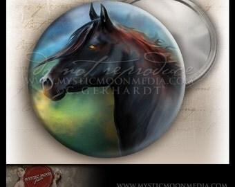 Black Stallion...POCKET MIRROR...Black Horse with Fire