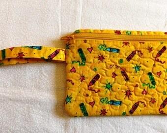 School themed wristlet; School themed purse;purse; coin purse; makeup bag; clutch; teacher gift; student gift