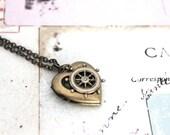 helm. heart locket necklace. in brass ox jewelry