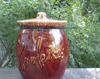Vintage Hull Cookie Jar - Brown Cookie Crock - Christmas Gift