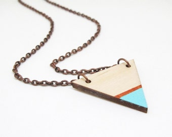 Geometric Painted Wood Triangle Necklace - Blue and Copper Tip