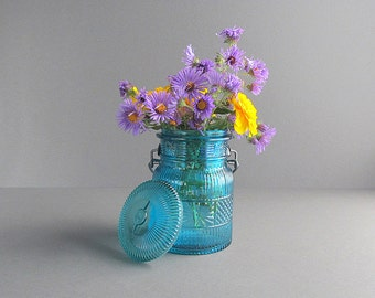 Vintage Blue Jar, Storage Jar, Supply Jar, Avon Jar, Wire Bail Jar, Rustic Vase