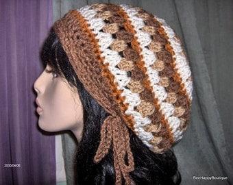Dreads Hat Mens Womens Brown Cream Rasta Slouchy Hat Dreadlocks Slouchy
