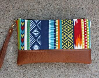Tribal Fabric Clutch / Wristlet