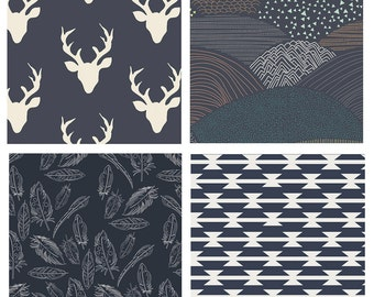 BUNDLE - Indian Summer - Hello Bear - Art Gallery Fabrics - Bonnie Christine - Deer Heads Antlers Feathers Navy