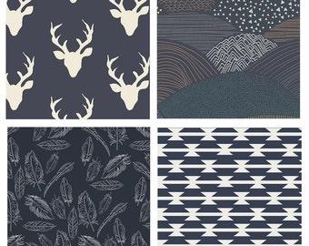 BUNDLE - Indian Summer - Hello Bear - Art Gallery Fabrics - Bonnie Christine - Deer Heads Antlers Feathers Navy